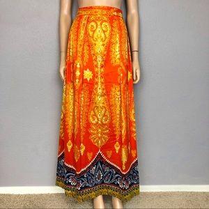 70's Retro Paisley Print Pleated Maxi Skirt Orange